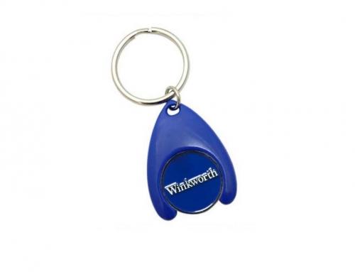 Porte-clés plastique avec jeton caddie métallique