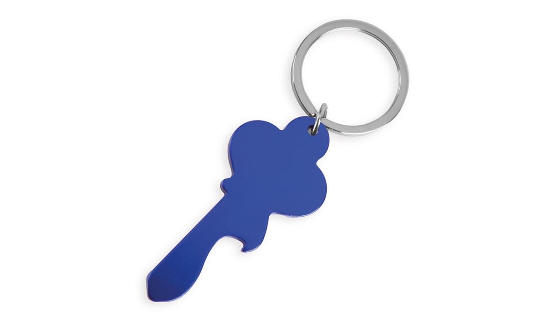 Porte-Clés Publicitaire Aluminium En Forme de Clé Bleu