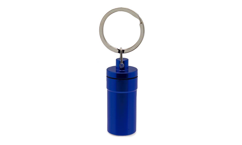 Porte-Clés Publicitaire Aluminium Pilulier Bleu