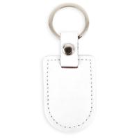 Porte-clés Bouclier Blanc simili Cuir