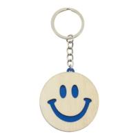 Porte-clés Smiley bicolore bleu publicitaire