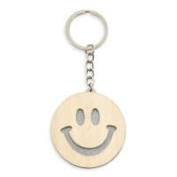 Porte-clés Smiley bicolore gris publicitaire