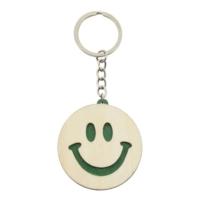 Porte-clés Smiley bicolore publicitaire vert