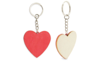Porte-clefs bois coeur bicolore